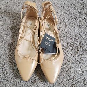 Zara women's flats lace up beige 38